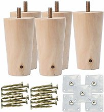 sourcingmap 3 Inch Round Solid Wood Furniture Legs