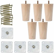 sourcingmap 4 Inch Round Solid Wood Furniture Legs