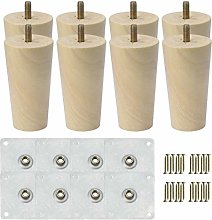 sourcingmap 5 Inch Round Solid Wood Furniture Legs
