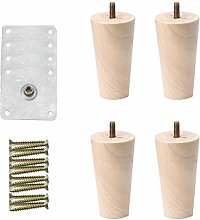 sourcingmap 6 Inch Round Solid Wood Furniture Legs