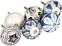sourcingmap 6 Pieces Vintage Shabby Knobs Blue and