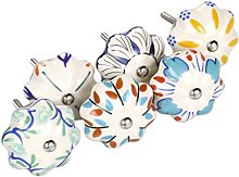 sourcingmap 6 Pieces Vintage Shabby Knobs Colorful