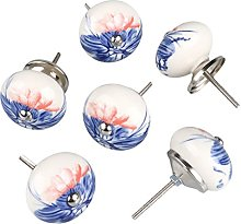 sourcingmap 6 Pieces Vintage Shabby Knobs Floral