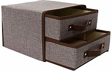 sourcingmap Collapsible Linen Fabric 2-Drawer