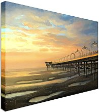 Southport Pier in the UK sunset Canvas Art Cheap