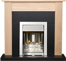 Southwold Fireplace in Oak & Black with Helios
