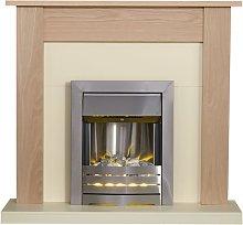 Southwold Fireplace in Oak & Cream with Helios