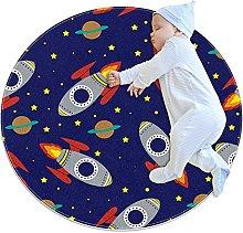 Space Rocket Stars Pattern Round Floor Mat Non