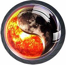 Space Sun and Moon Yin Yang Cabinet Door Knobs