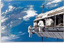 Space Walk Space Station ISS Blue White Canvas