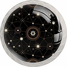 Space with Stars 4PCS Drawer Knob Pull Handle
