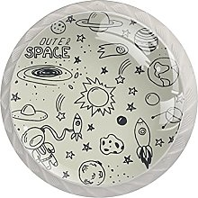 Spacecraft 4Pcs Cabinet Knobs Round Shape Pull