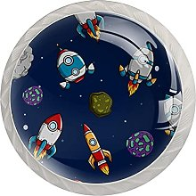 Spaceship with Asteroid and Star, 4-Pack of ABS