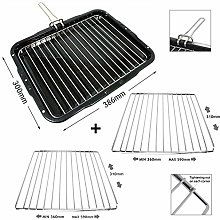 SPARES2GO Grill Pan with Handle & Rack Insert for