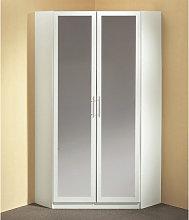 Spectral Mirrored Tall Corner Wardrobe In White