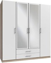 Spectral Mirrored Tall Wardrobe In White And Oak