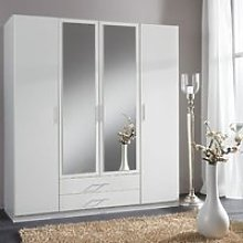 Spectral Mirrored Tall Wardrobe In White With 4