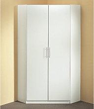 Spectral Wooden Corner Wardrobe In White