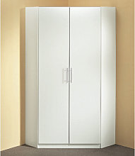 Spectral Wooden Tall Corner Wardrobe In White
