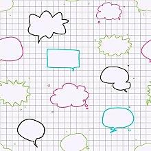 Speech Bubbles Wipeable Wallpaper Whiteboard Kids