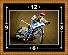 Speedway Motorbike Wall Clock Gift Present