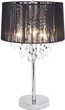 Spencer 3 Light Table Lamp, Glass, Black