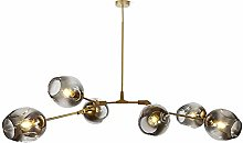 Spherical Glass Chandeliers, Industrial Iron E27