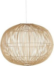 Spherical pendant light in woven rattan with white