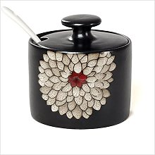 Spice Jar Ceramic with Lid Spoon Japanese