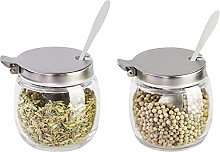 Spice jar Sugar Bowl with lid and Spoon Glass Salt