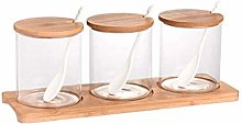 Spice Jars with Tray Kitchen 3Pcs/Set Glass Spice