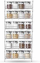 Spice Rack Wall Mounted Spice Rack, 6 Tier
