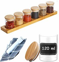 Spice rack with 6 spice jars, 120 ml, 10 labels,