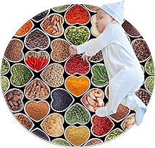 Spices and herbs, Printed Round Rug for Kids