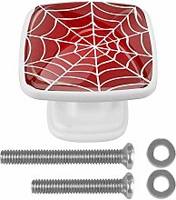 Spider Web On Red Background 4PCS Drawer Knobs