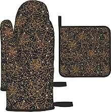 Spider Web Orange Black Glitter Oven Mitts and Pot