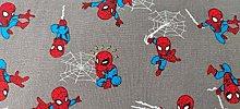 Spiderman Fabric - Grey Kawaii Style Spiderman