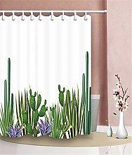 Spiny Cactus Plant Shower Curtain Bathroom