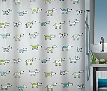 Spirella Doggi Kiwi/Sky Shower Curtain, Vinyl, 180