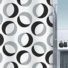 Spirella Rings Grey-Black Shower Curtain
