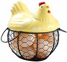SpirWoRchlan Iron Ceramic Hen Ornament Egg Fruit