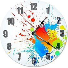 Splattered Colorful Paint Clock Paint Wooden Wall