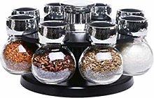 SPNEC Glass spice box rotation-6 Piece Pepper