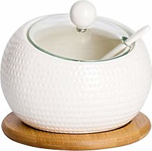 SPNEC White Ceramic Seasoning Jar, Spice Box
