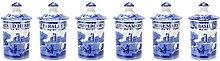 Spode 1389542 Blue Italian Spice Jar, Set of 6