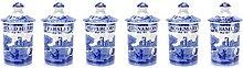 Spode Blue Italian Spice Jar, Set of 6 by Spode