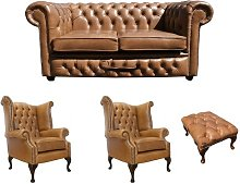 Spokane Chesterfield 4 Piece Leather Sofa Set