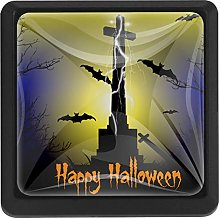 Spooky Graveyard Scene with Cross and Bats Square