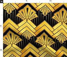 Spoonflower Fabric - Art Deco Gold Yellow Black