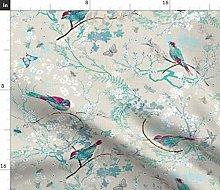 Spoonflower Fabric - Bees, Birds, Rustic,